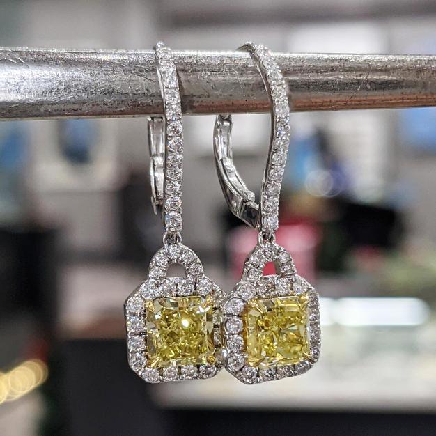 14kt Intense Yellow Diamond and White Diamond Earrings