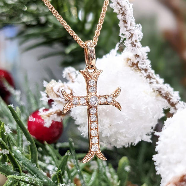 """14kt Rose gold Diamond Cross with 18"""" chain"""