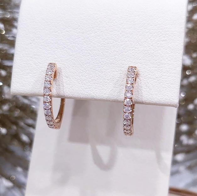14kt Rose gold Diamond Hoops