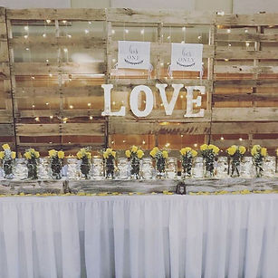 This rustic themed wedding reception was