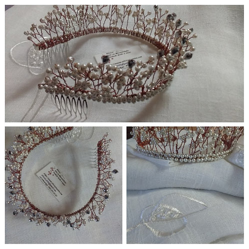 Hermosa tiara perlas, gota, cobre