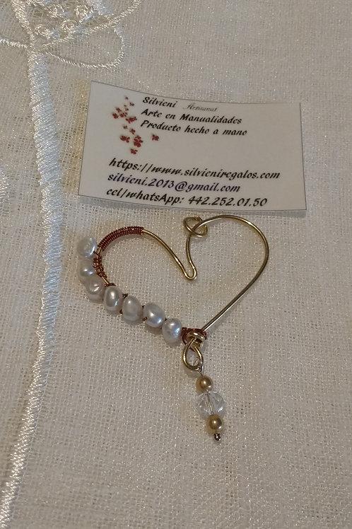 corazón perlas de rio