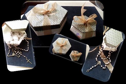 lazo y rosario en caja japonesa perla cr