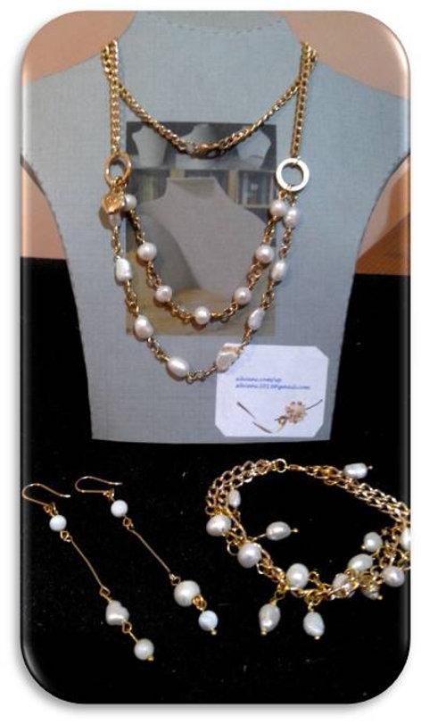 collar aretes pulsera perla de rio blanc