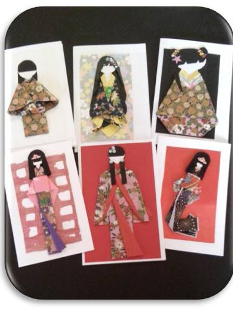 origami, Tarjetas, Muñecas japonesas