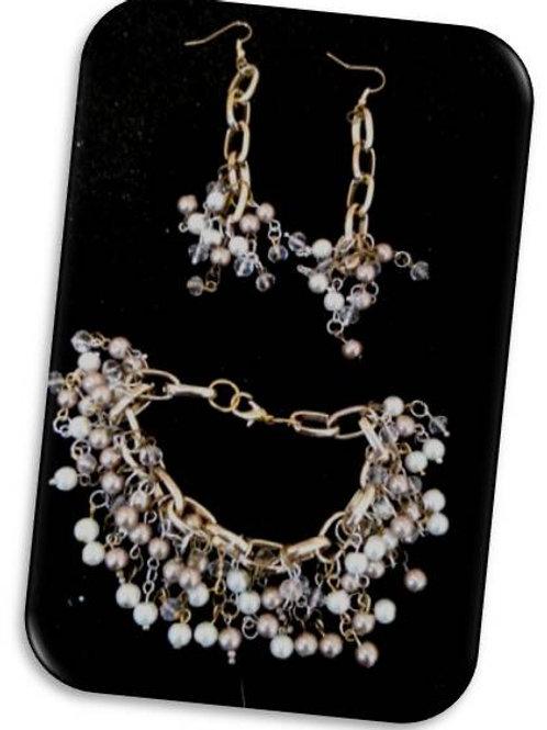 lucirás perfecta, pulsera y aretes perla cristal
