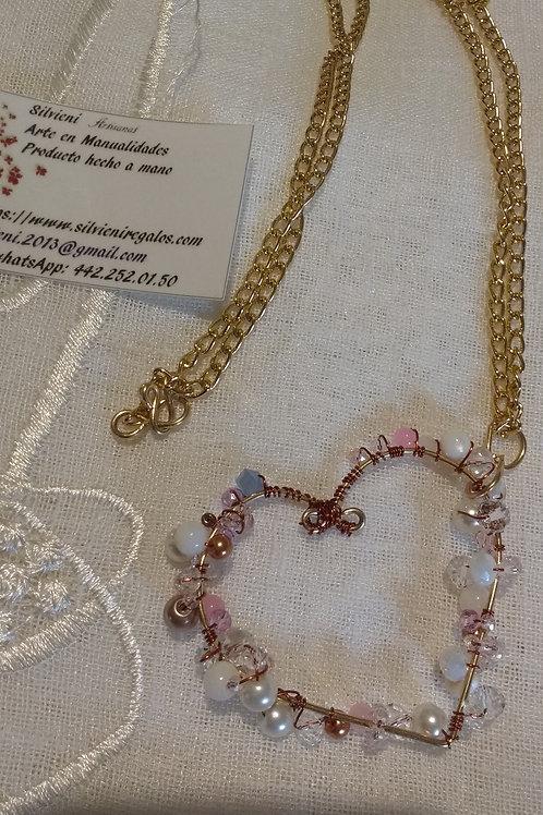 corazon perla cristal y cristales