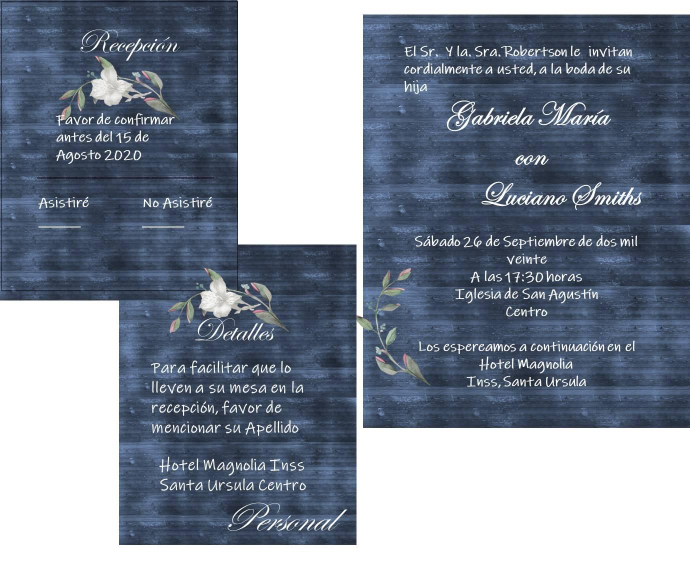 invit madera azul marino con flores