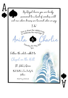 alice playing card themed invite