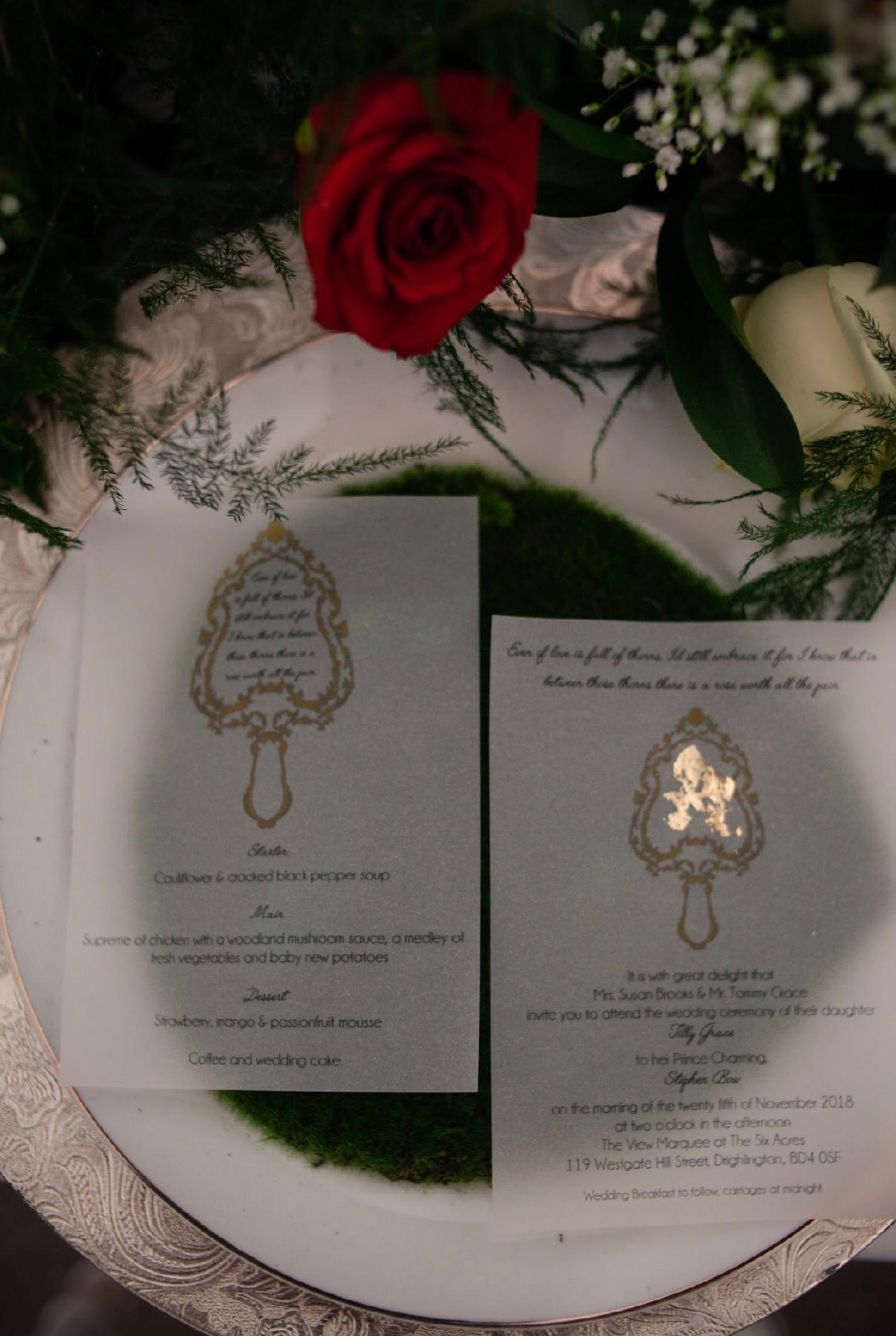 snow white themed wedding invite