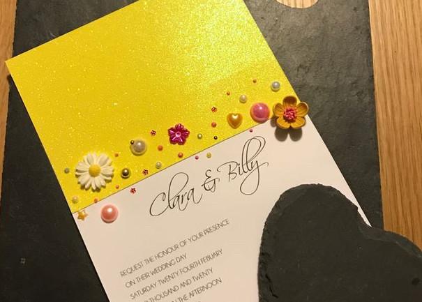 sumery, jewelled wedding invitation
