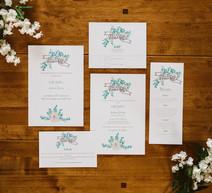 bouquet banner wedding invitation suite