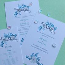 bouquet banner wedding invitation