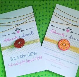 rustic button themed wedding invite