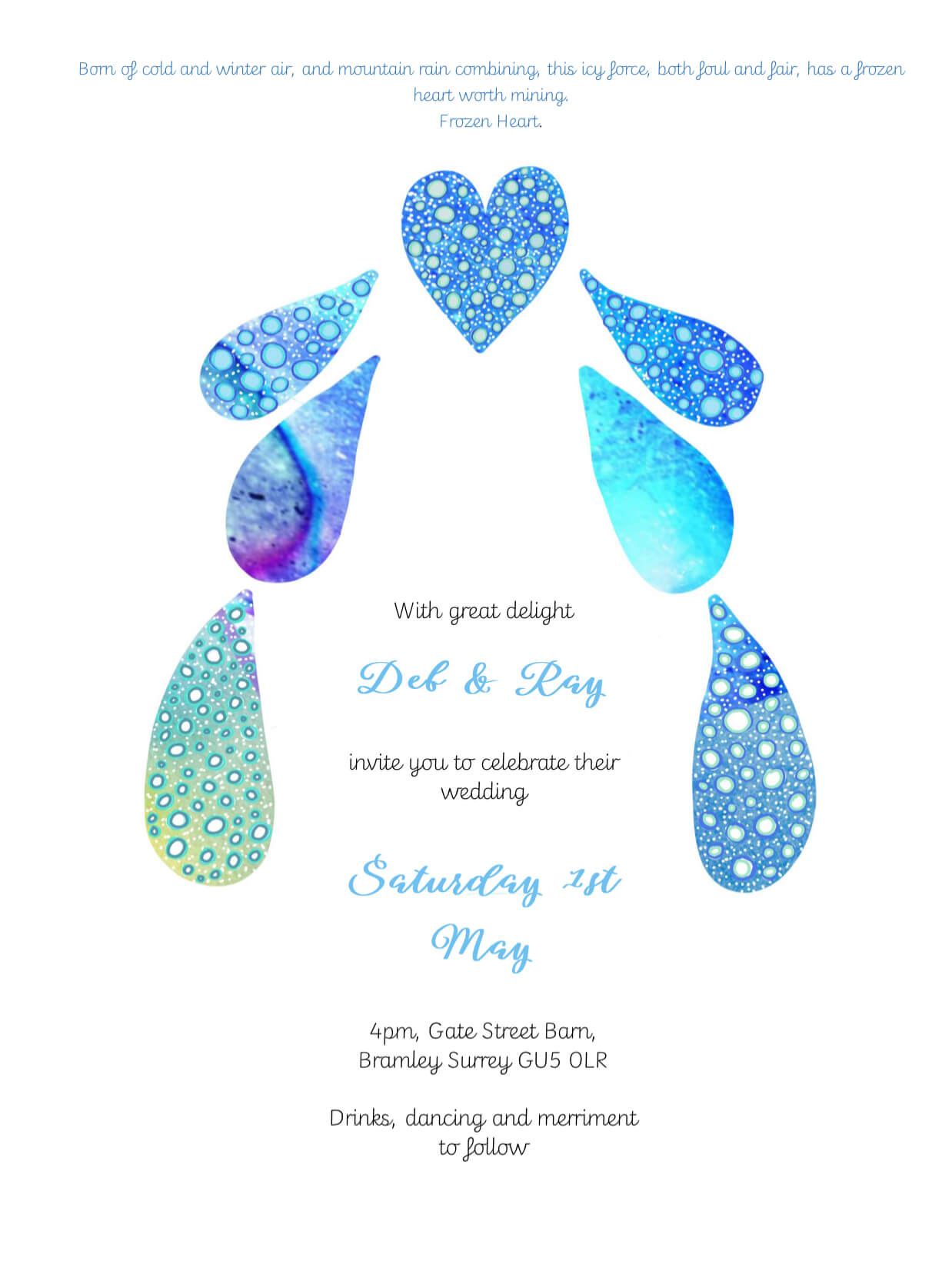water and ice themed invitation