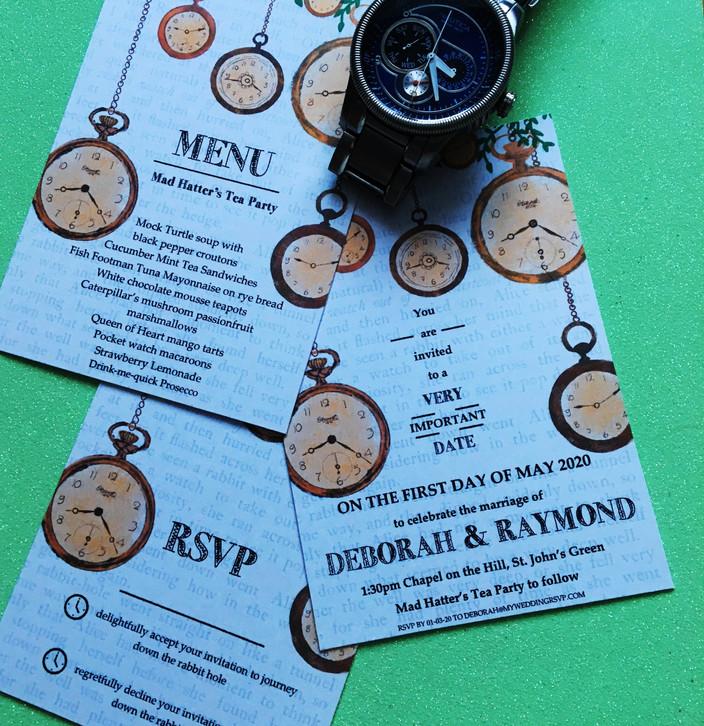 alice themed clock invitation suite