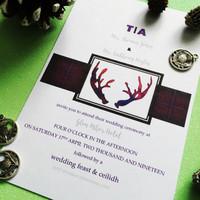 Tartan stag wedding invitation