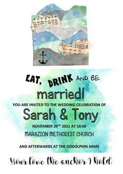 mixed media sea themed invitation