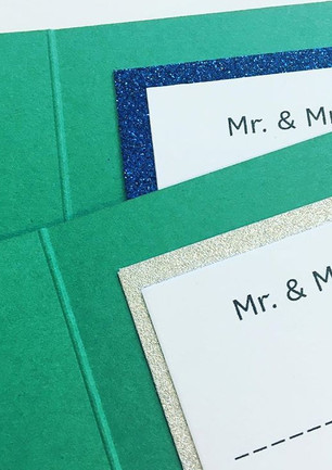 interior of invite lined with glitter card