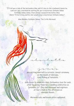 close up mermaid wedding invite