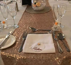 circular place card on tablescape