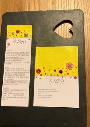 summery, jewelled rsvp and menu card