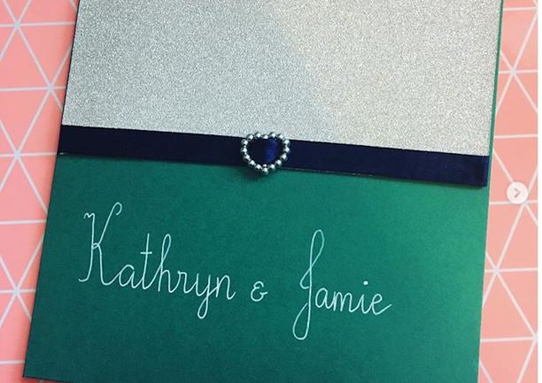 jade pocketfold invite with glitter card, ribbon and slider
