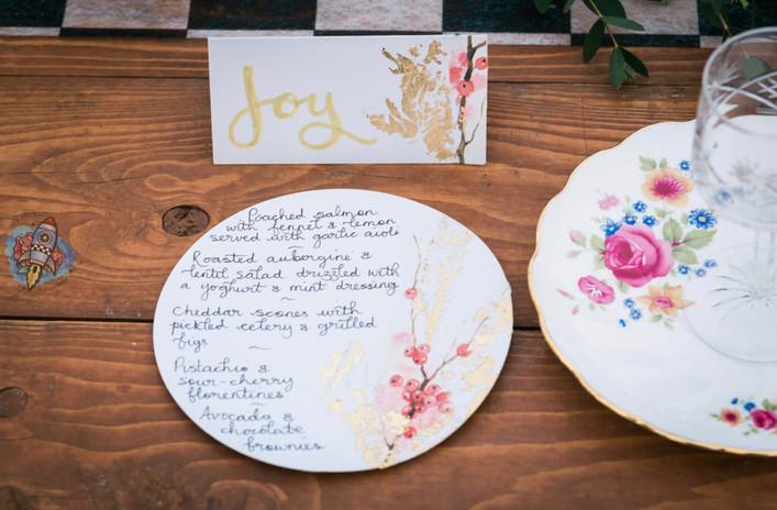wedding menu card and matching name card