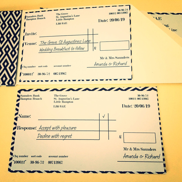 cheque book style rsvp