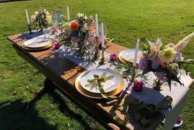 spring garden table scape