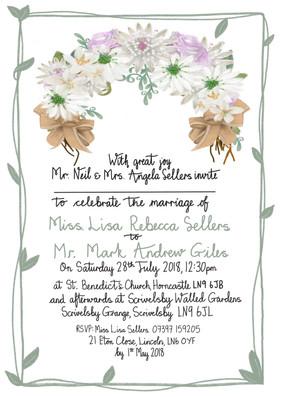 hand drawn bouquet rustic invitation