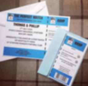football ticket style wedding invitation and rsvp