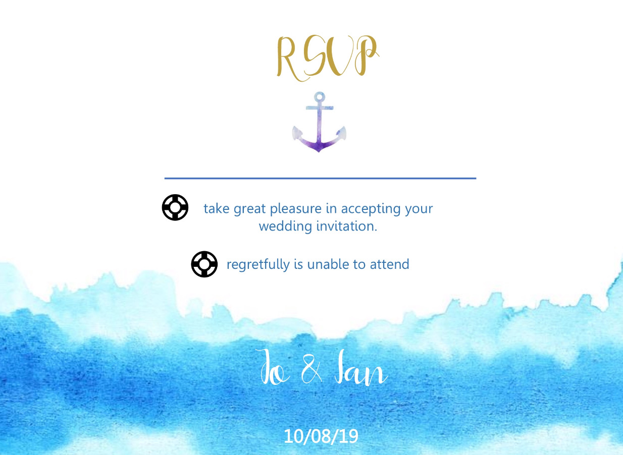 close up wave themed rsvp