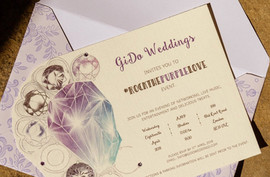 cut out shaped wedding invitation based on an engagement ring
