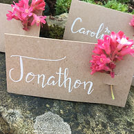 hand lettered wedding place cards decorated with fresh spring buds