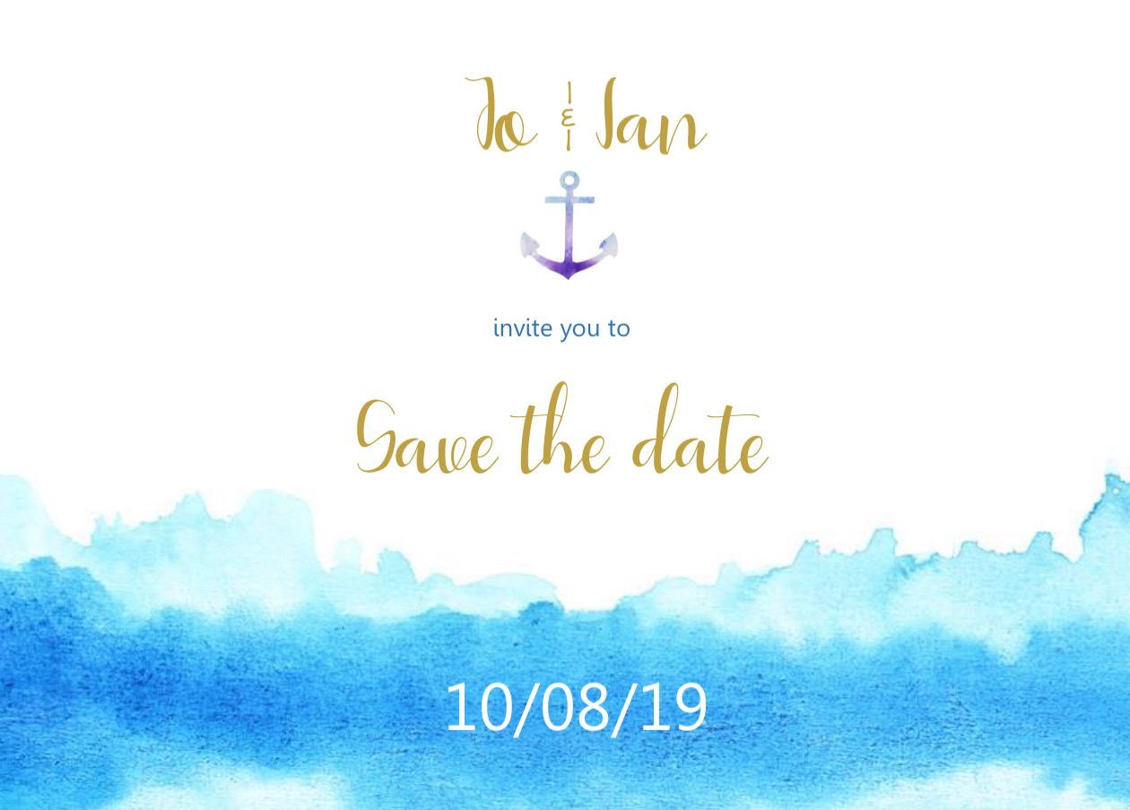 close up wave themed save the date