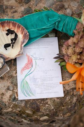 little mermaid inspired wedding invitation