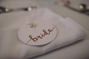 close up circluar wedding place card
