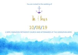 close up wave themed invitation