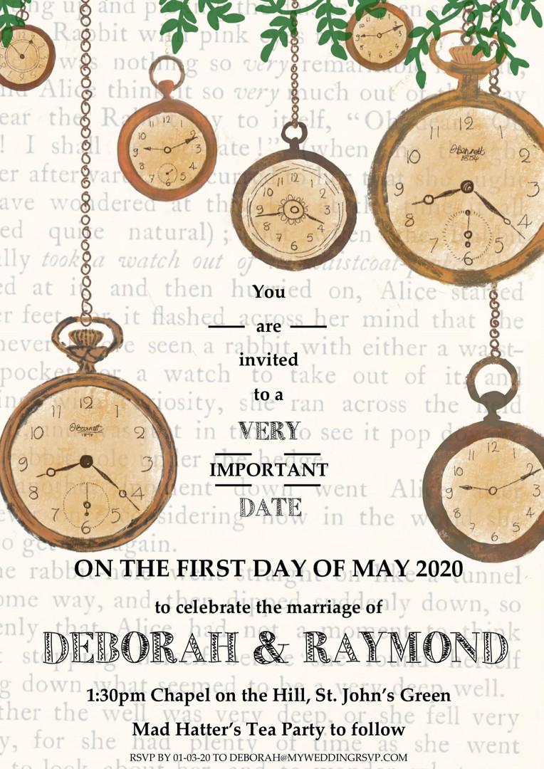 close up clock invitation