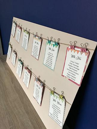 bunting theme wedding table plan