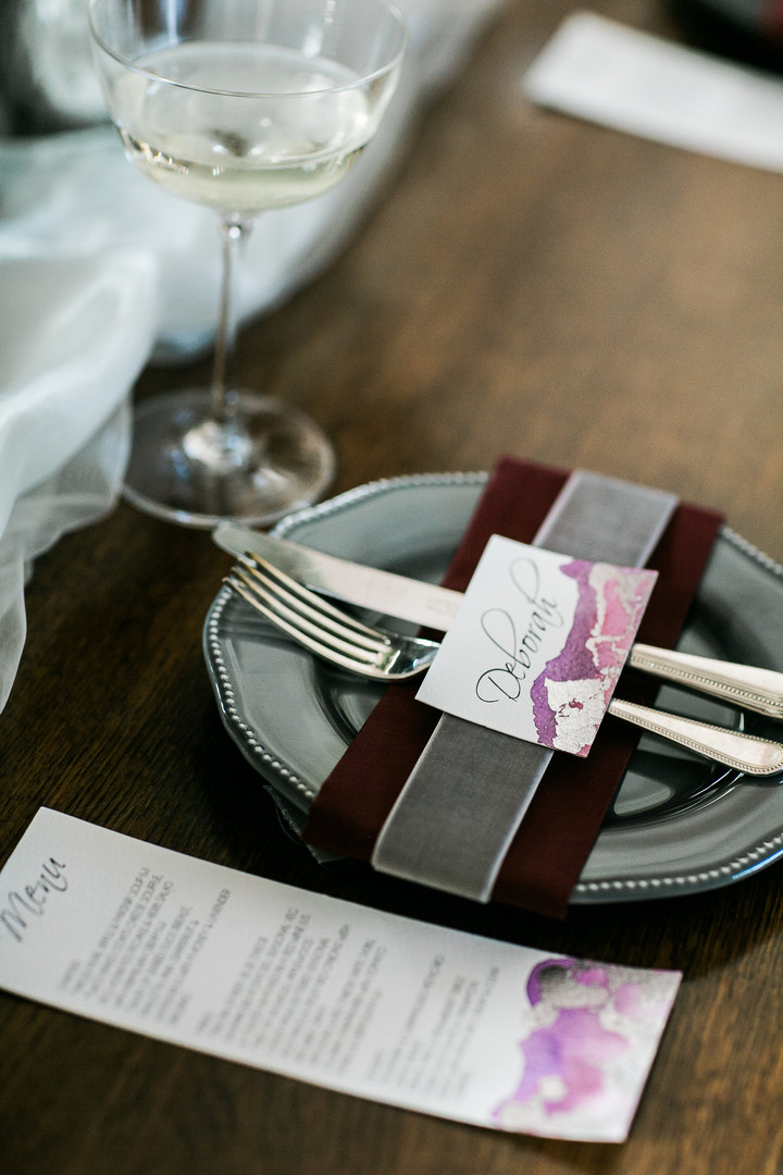 matching menu card and place card for wedding