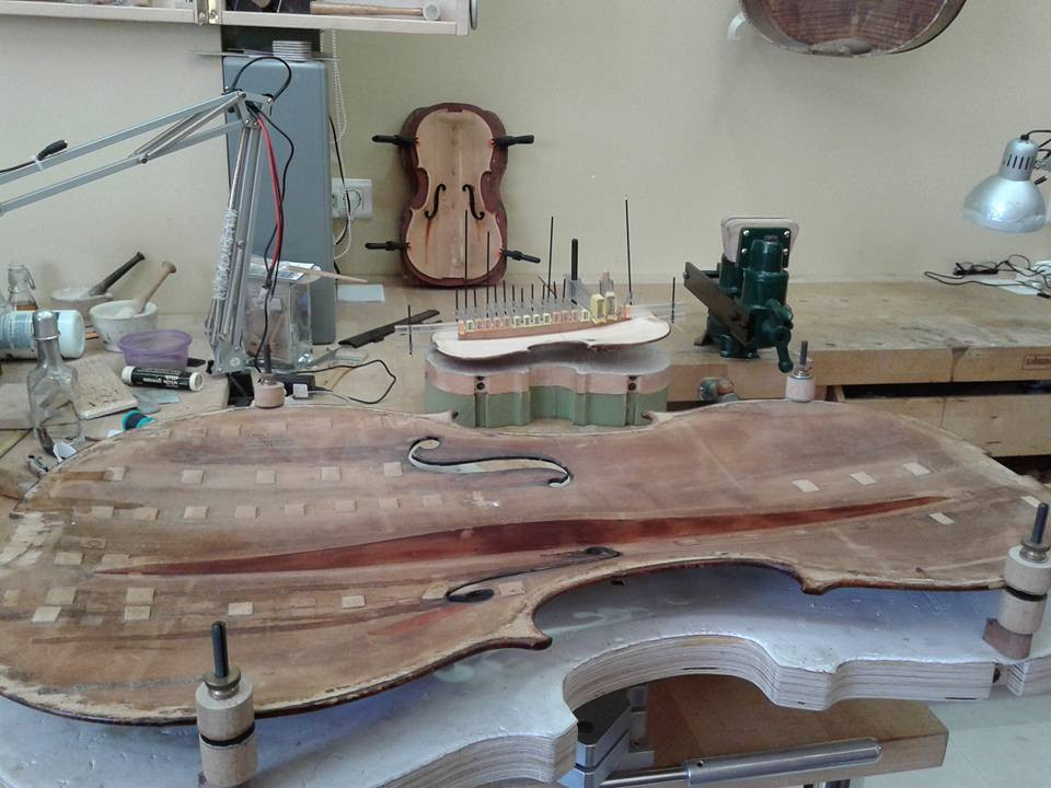 so many old cracks to repair,,, old Violoncello by Anton Winter, London circa 1890-1900.