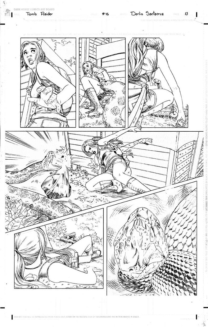 New original layouts of Tomb Raider Comic #16 by Derlis Santacruz