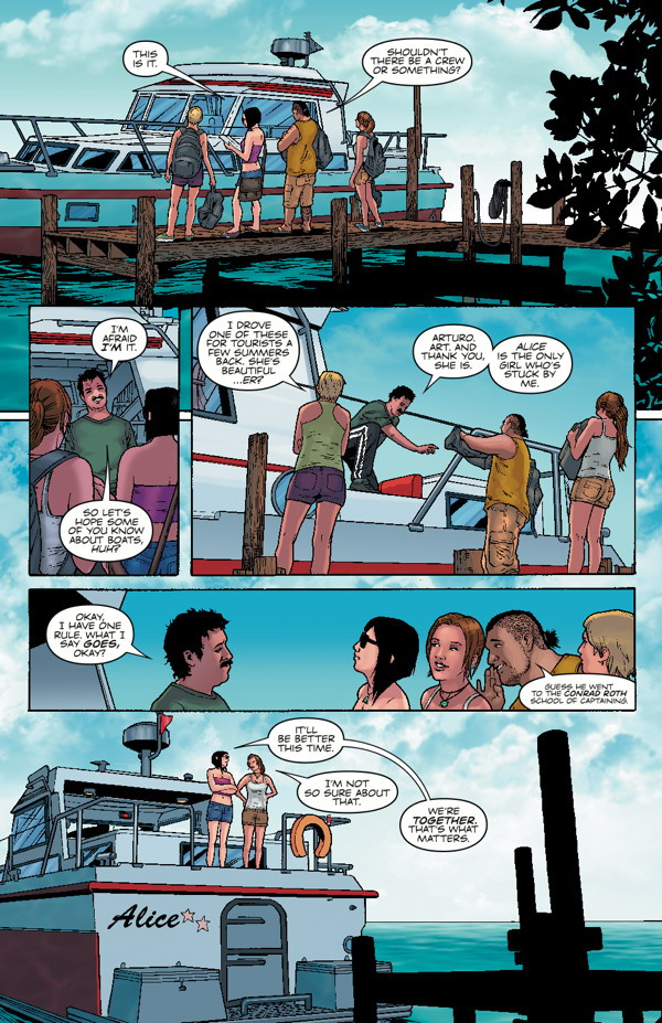 "Preview pages of Tomb Raider Comic #14 ""Dark Waters"""