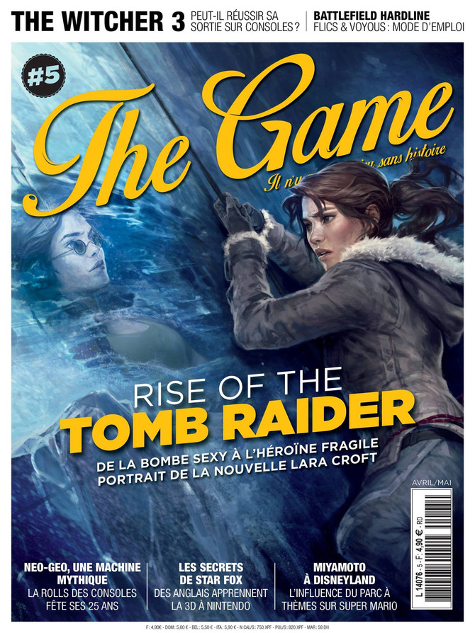 "Awesome cover-art of Rise of the Tomb Raider in ""The Game Magazine"""