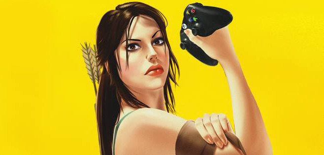 "Lara Croft in the cover of the spanish magazine ""Hobby Consolas"""