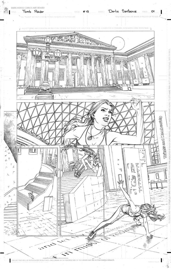 Derlis Santacruz show to us his original layouts from Tomb Raider Comic #13