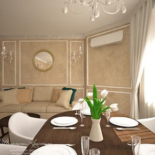 Гостиная-столовая в стиле современная классика