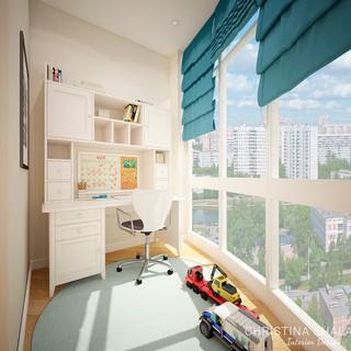 Рабочая зона в спальне сына